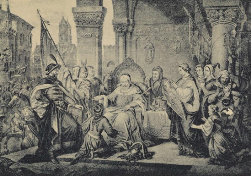 Władysław Herman pozwolił swojemu synowi, Bolesławowi Krzywoustemu, na wyprawę z Sieciechem - wyobrażenie Aleksandra Lessera