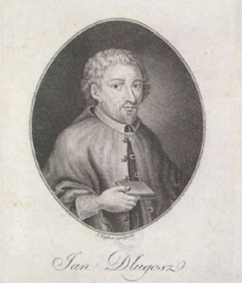 Jan Długosz na rycinie z XV wieku, a także życiorys pisarza, twórczość oraz pochodzenie i działalność