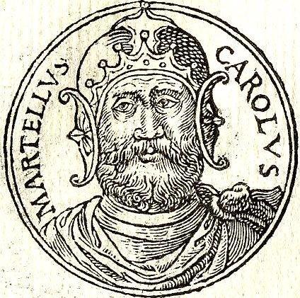Karol Młot brał udział w bitwie pod Poitier - bitwie, w której wygrała strona słabsza - rycina z XVI wieku z Promptuarii Iconum Insigniorum