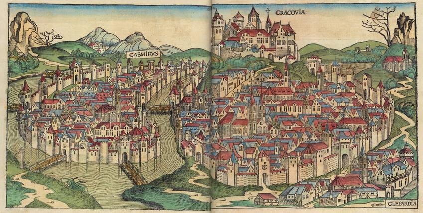 XIV-wieczny kraków w wyobrażeniu Hartmanna Schnedla na kolorowej ilustracji, a także jak Władysław Łokietek sprawdzał polskość krakowiskich mieszczan