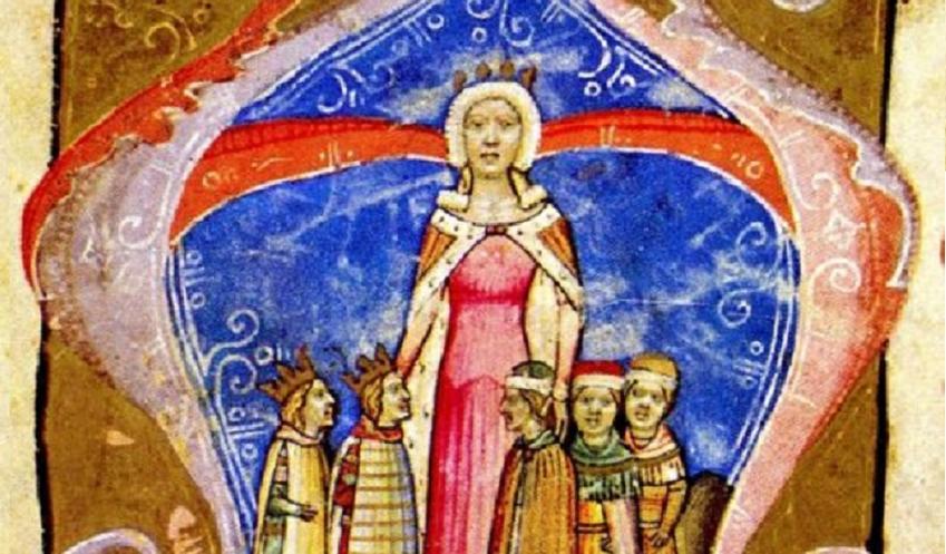 Elżbieta Łokietkówna, córka Władysława Łokietka była królową Węgier - wizerunek na obrazie z XIV w.