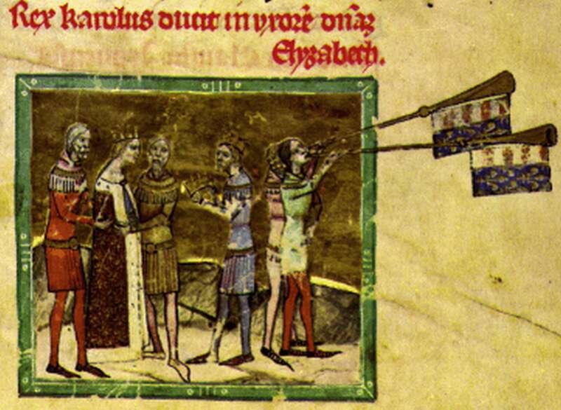 Elżbieta Łokietkówka podczas ślubu z Karolem Robertem na rycinie z XIV wieku z czeskiej Kroniki Ilustrowanej